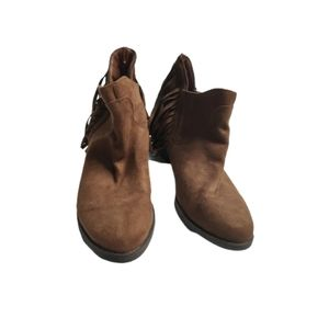 Faded Glory Suede Fringe Heeled Ankle Boots 6.5